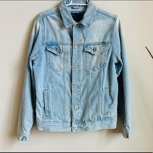 Zara Classic Denim Jacket with Distressed Detail